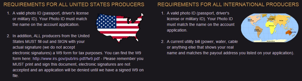 requirements at clips4sale for adult income