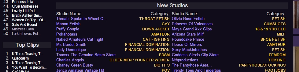 The New Studios list on the main frontpage of clips4sale