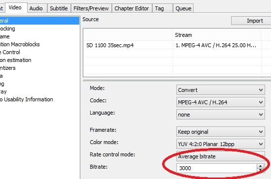 xmedia recode video tab